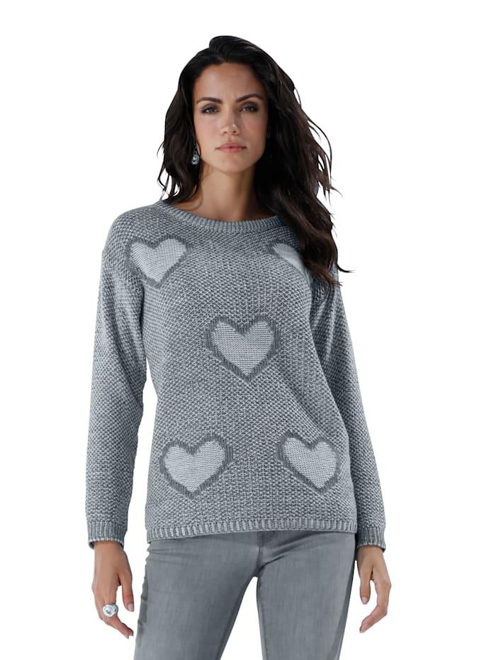 AMY VERMONT Pullover mit gestrickten Herzmotiven, Blau/Off-white