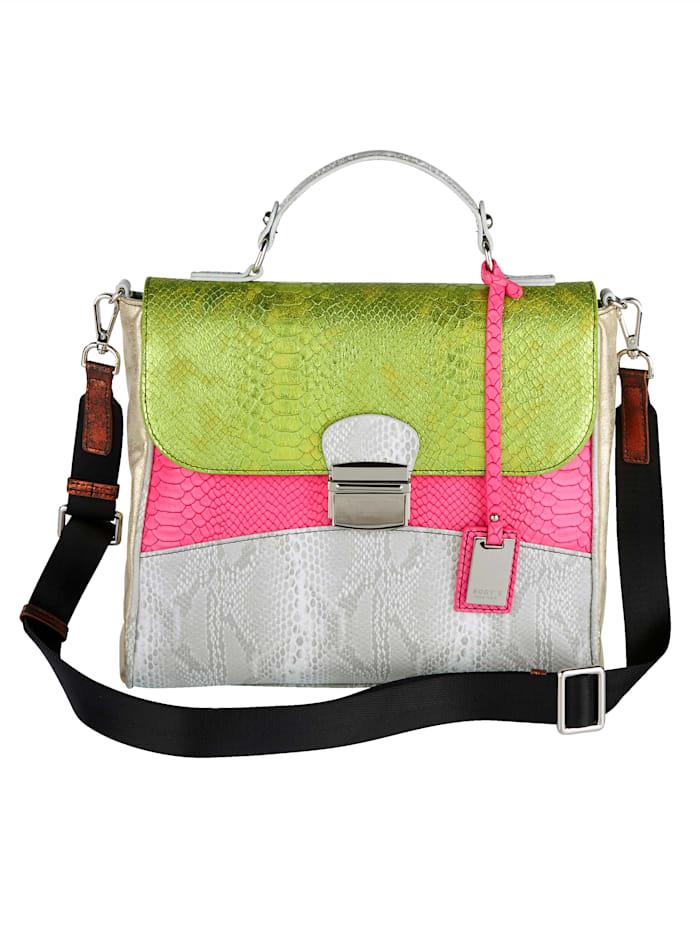 BOGY´S Brooklyn NY Handväska med olika präglingar, grå/cerise/kiwigrön