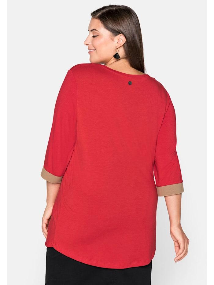 Sheego Shirt mit kontrastfarbenen Rippbündchen