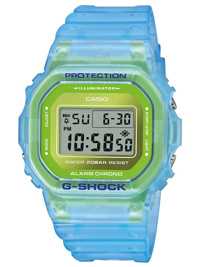 Casio G-Shock The Origin Digitaluhr Hellblau / Grün, Silberfarben