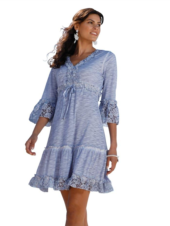 AMY VERMONT Jersey jurk met beleg van kant, Blauw