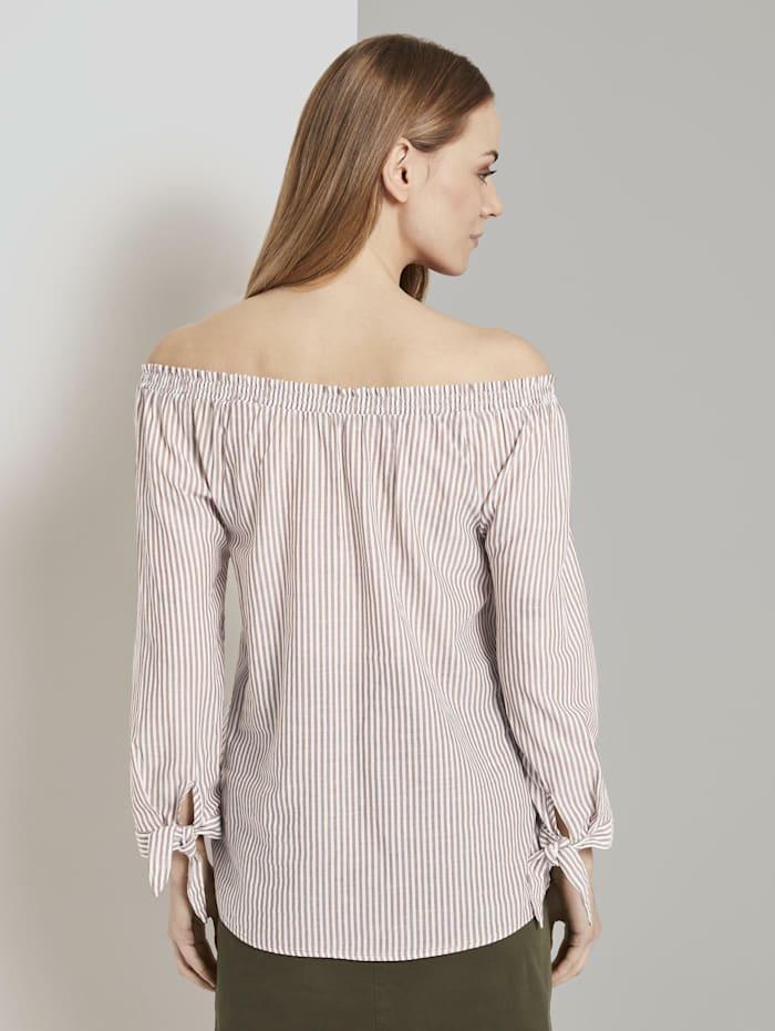 Schulterfreie Carmen-Bluse mit Knotendetail