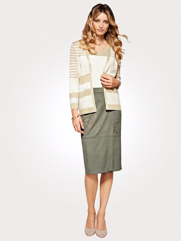 Italian mock wrap skirt in soft suedette