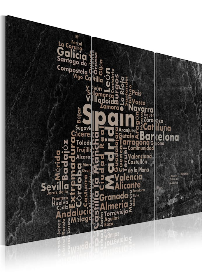 artgeist Wandbild Map of Spain on the blackboard - triptich, Creme,Grau