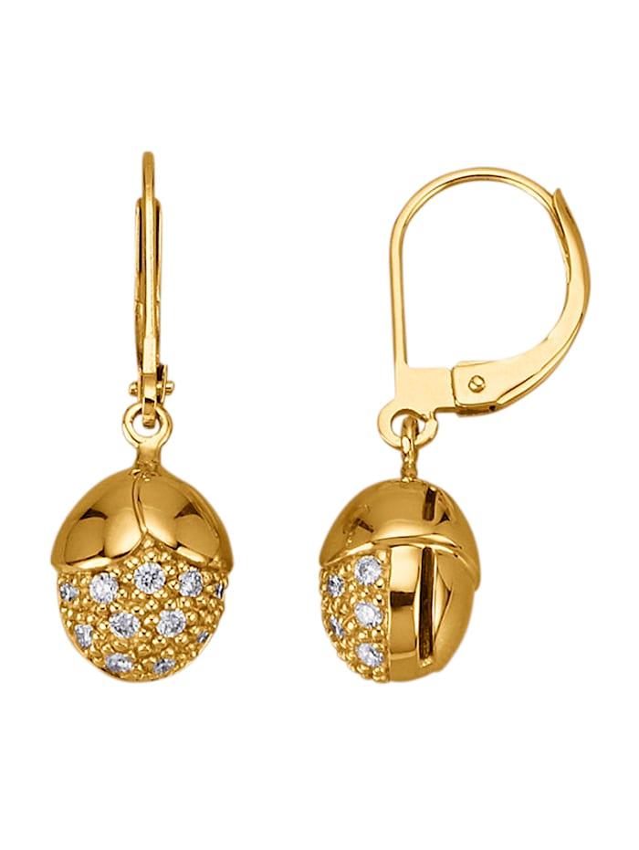 Diemer Diamant Ohrringe mit Brillanten, Gelbgoldfarben