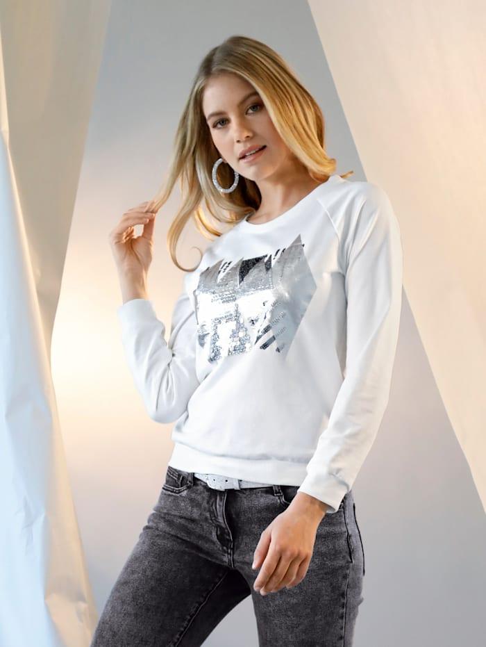 AMY VERMONT Sweatshirt mit Pailletten-Detail im Vorderteil, Off-white