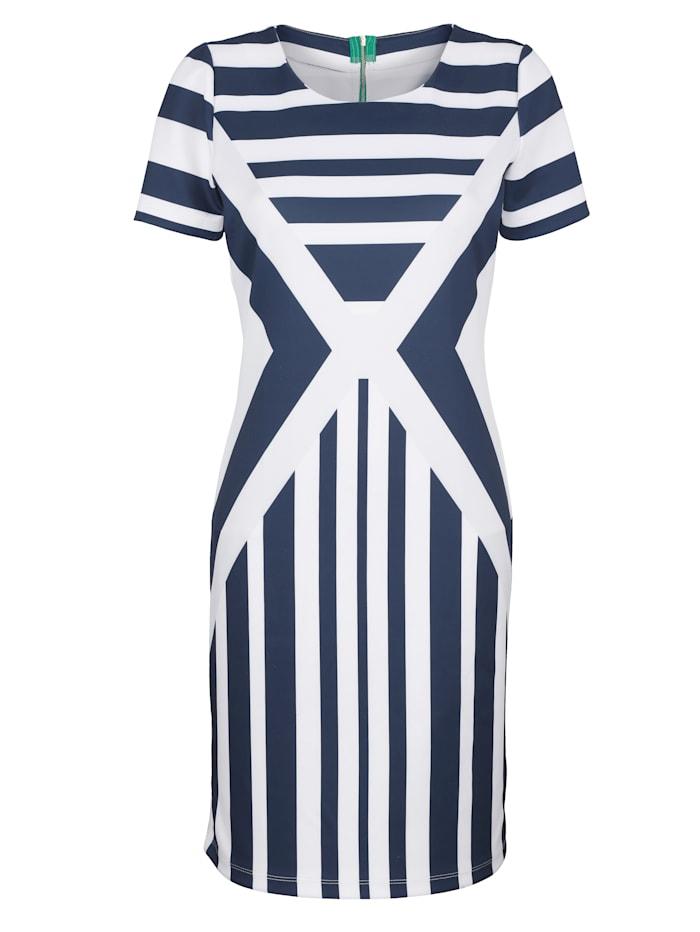 AMY VERMONT Jerseykleid in Streifen-Dessin, Blau/Weiß