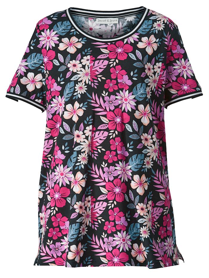 Shirt mit Strickbündchen an Ausschnitt und Ärmeln