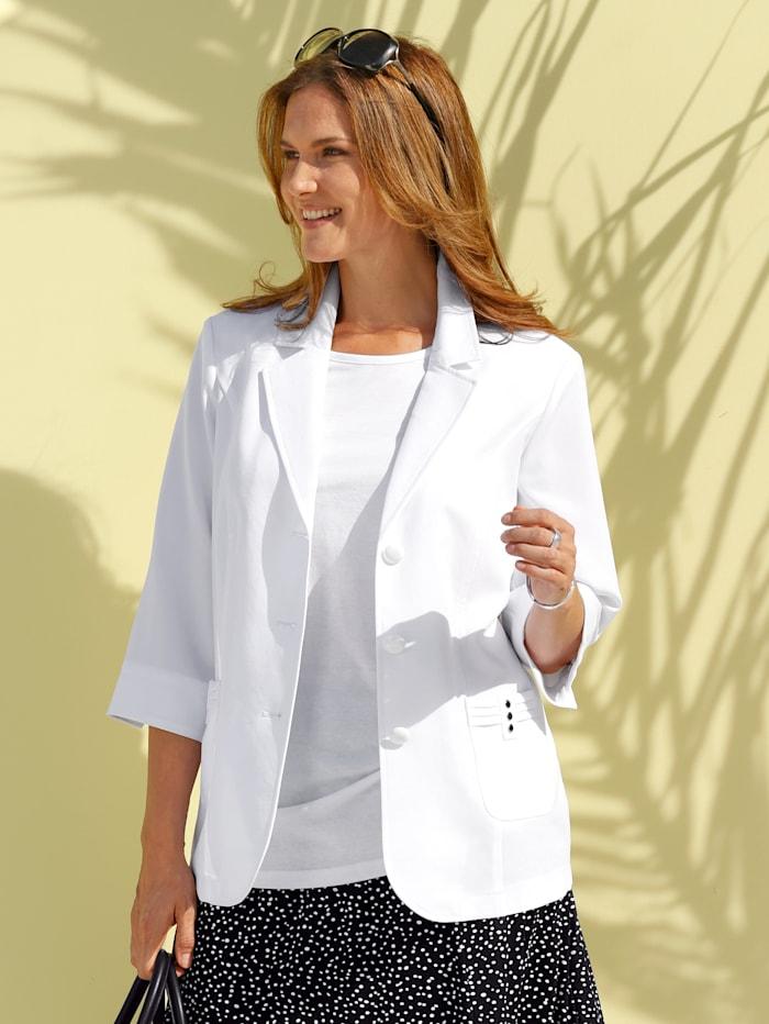 m. collection Blazer mit Plättchen an den Taschen, Weiß