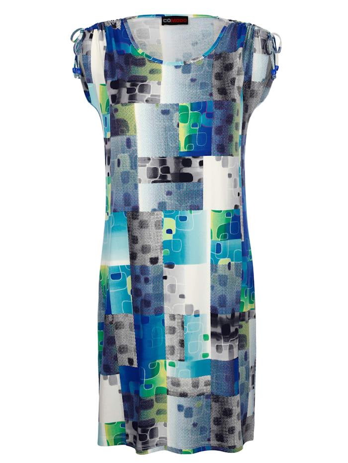 Comodo Robe de plage À imprimé haut en couleurs, Bleu/Vert/Blanc