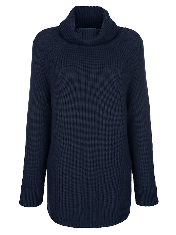Alba Moda Pullover mit großzügigem Rollkragen, Marineblau