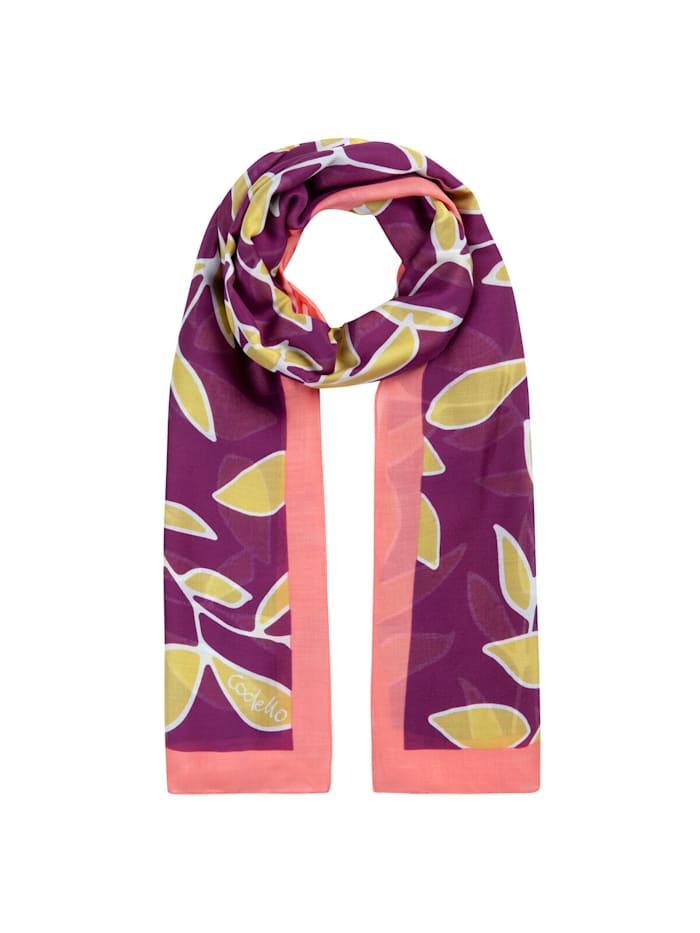 Codello Softer XL-Schal mit Blätter-Print, dark violet