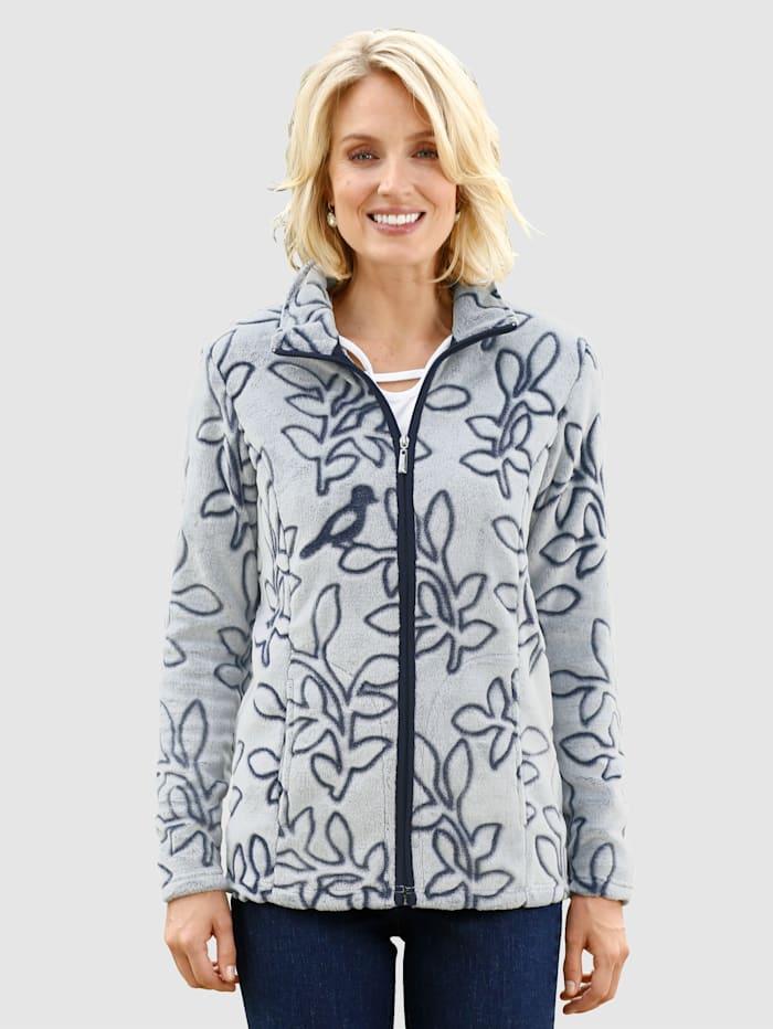 Paola Fleece vest met bladerenmotief, Ecru/Marine