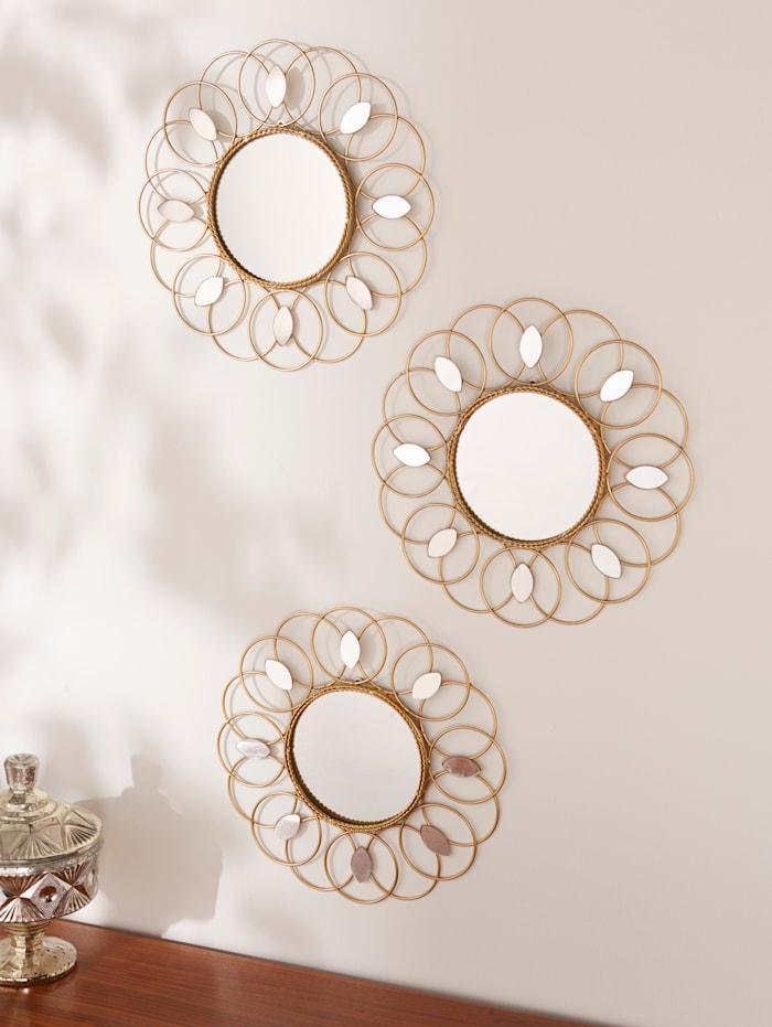 Väggdekoration: set med 3 speglar, Guldfärgad