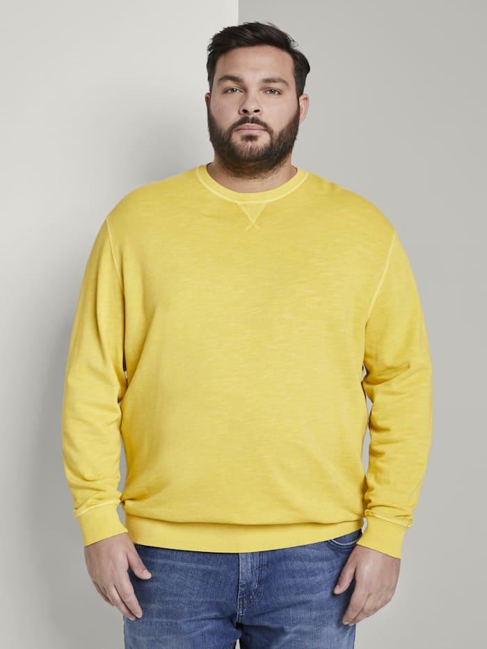 Tom Tailor Men Plus Schlichtes Sweatshirt, Californian Yellow