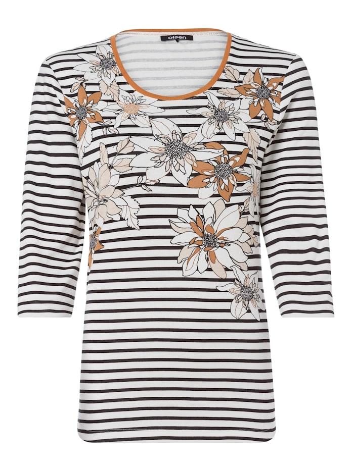 Olsen Rundhalsshirt mit Streifen und Blüten, Off White