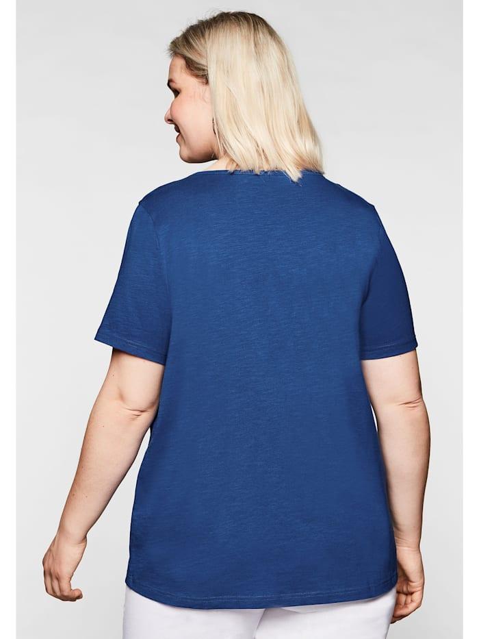 T-Shirt mit Raffung und Häkelspitze