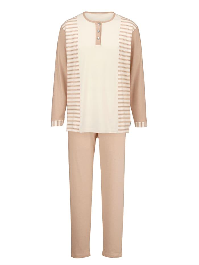 Pyjama van in kleur geteeld katoen, Ecru