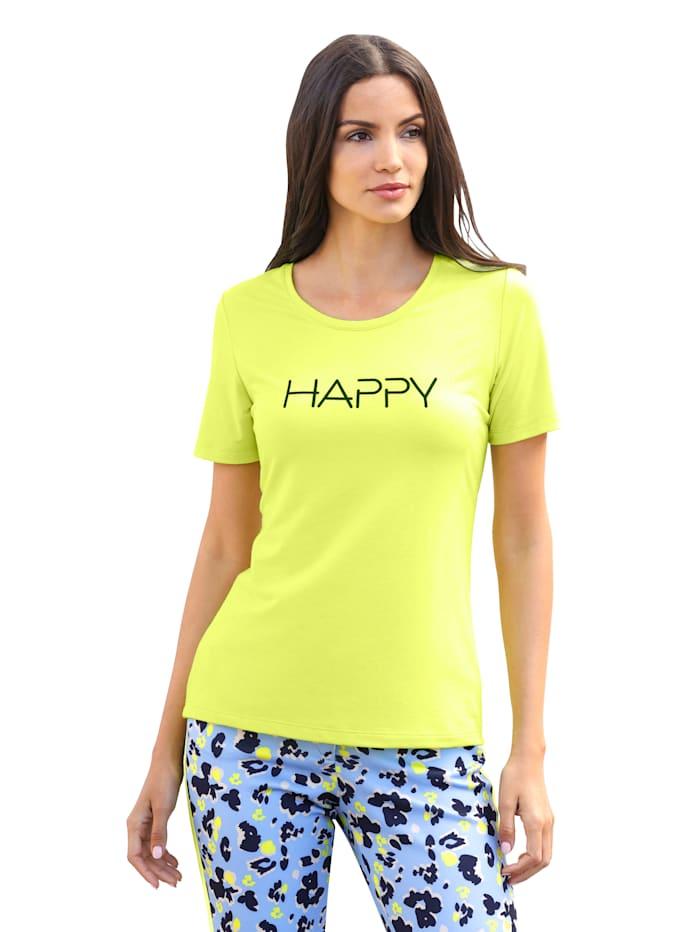 AMY VERMONT Shirt mit Schriftzug, Neongrün