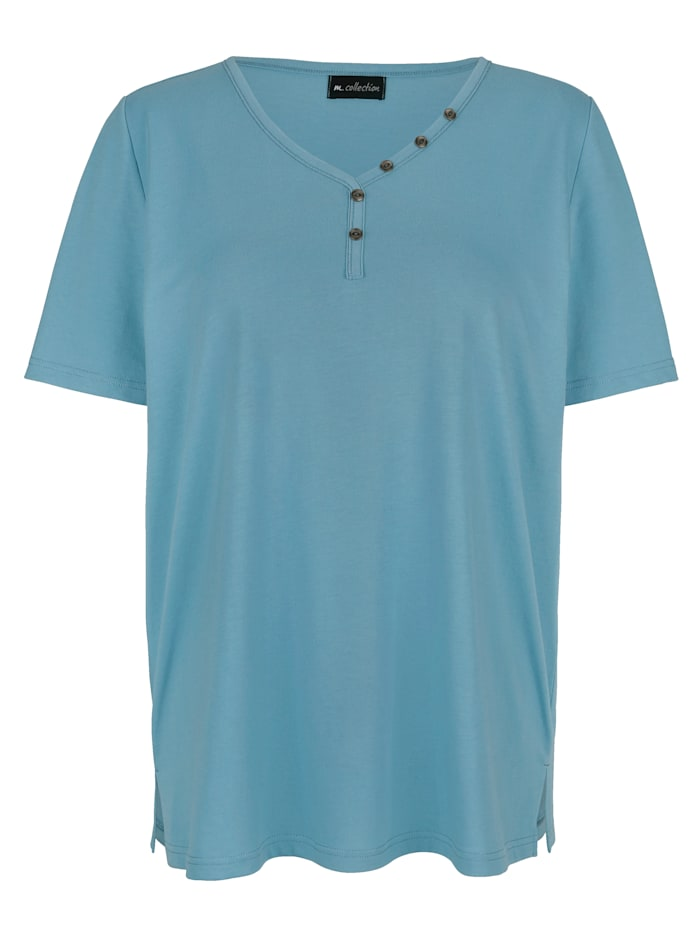m. collection Shirt mit Dekoknöpfen, Petrol