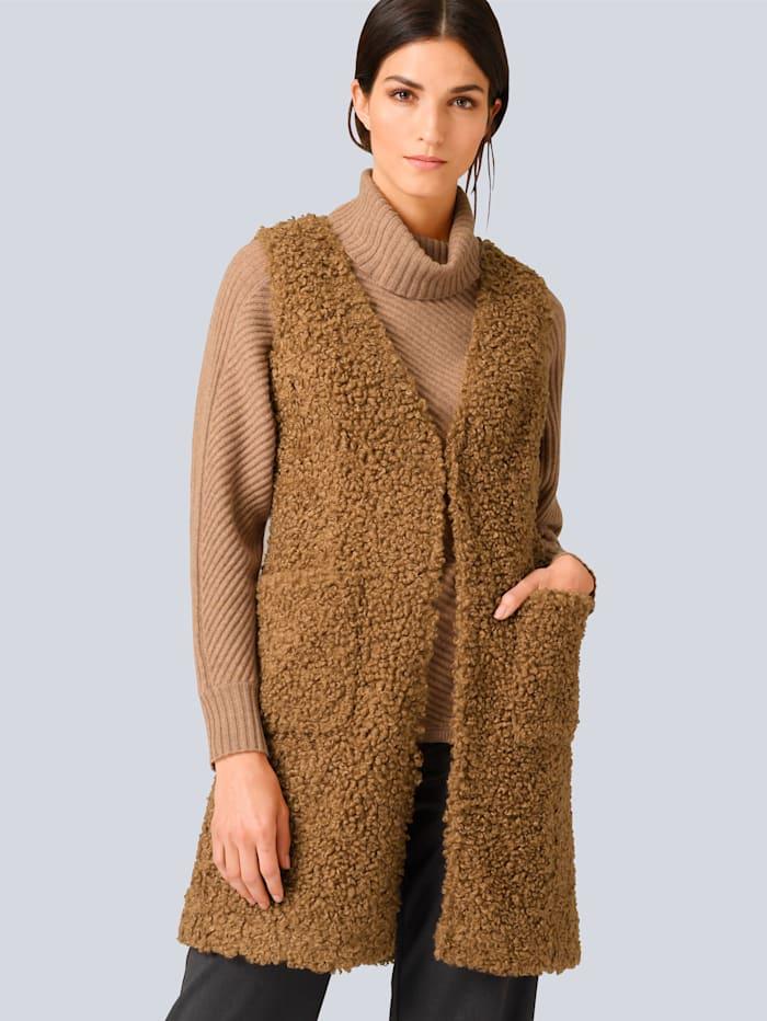 Alba Moda Weste in schöner Fake Fur Qualität, Camel