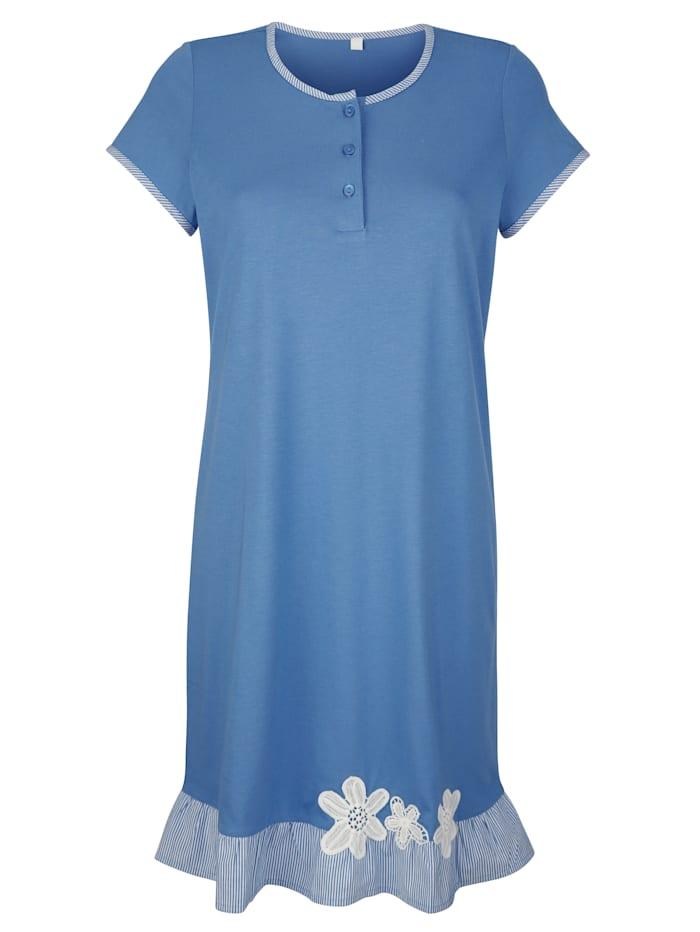 Simone Nachthemd mit floraler Stickerei, Blau/Weiß