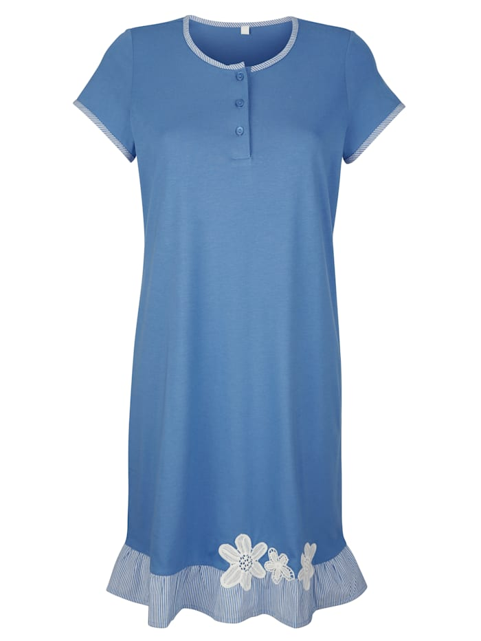 Simone Nachthemd met bloemenborduursel, Blauw/Wit