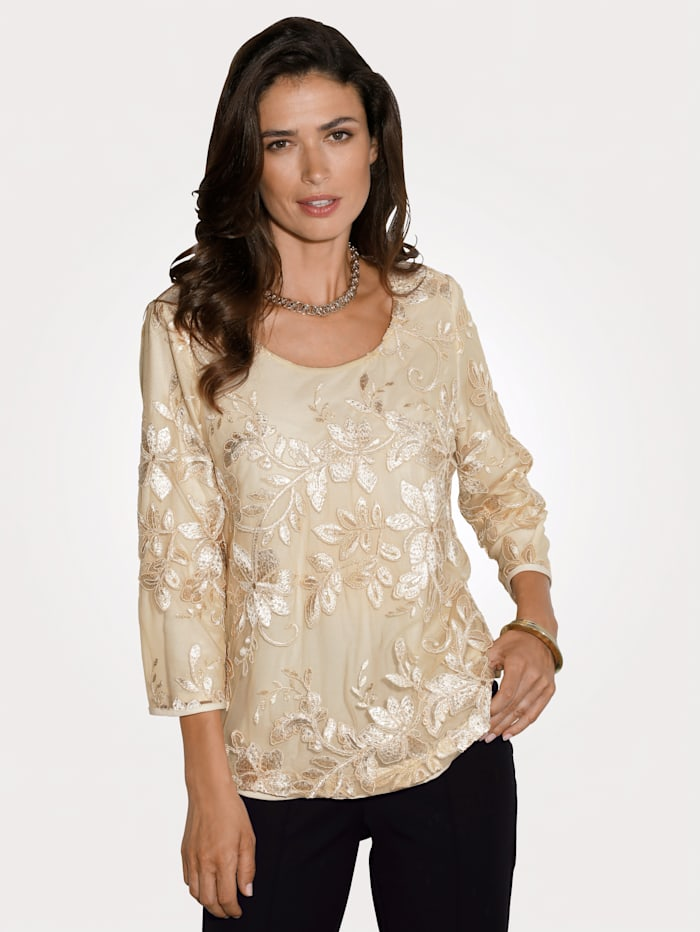 MONA Top with embroidery and sequins, Gold-Coloured
