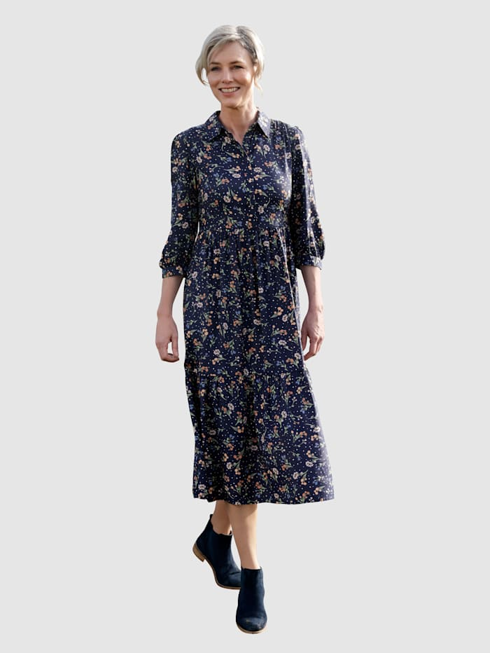 Dress In Kleid mit Rüschen, Marineblau