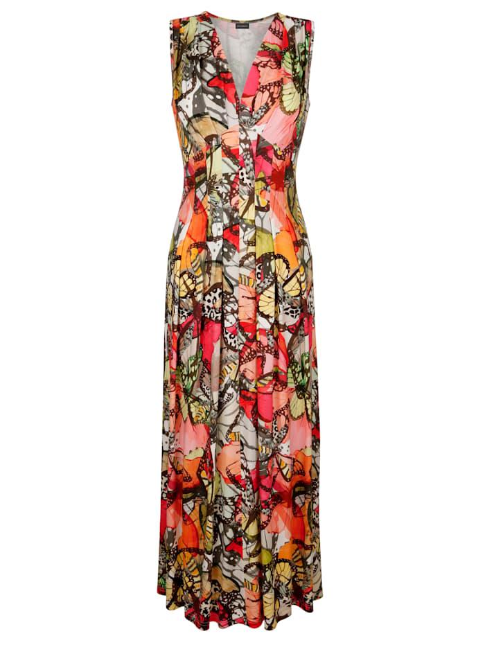 Jerseykleid mit farbintensivem Schmetterlingsdruck