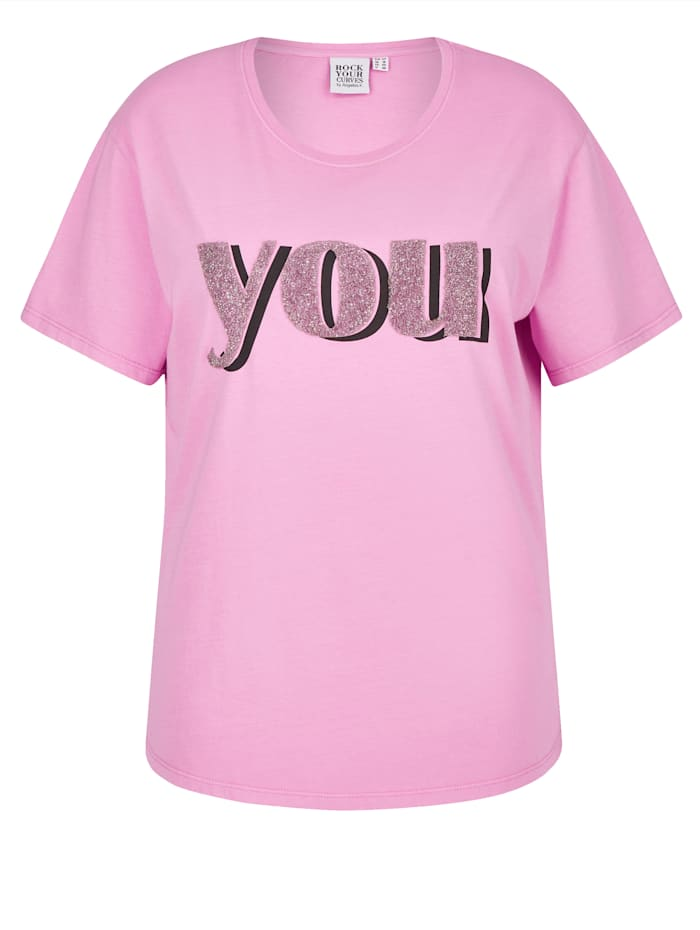 Rock Your Curves by Angelina K Shirt mit modischem Druck, Lila