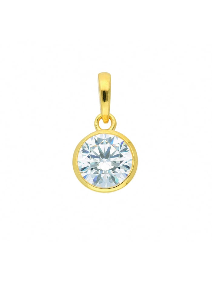 1001 Diamonds Damen Goldschmuck 333 Gold Anhänger mit Zirkonia Ø 9,5 mm, gold