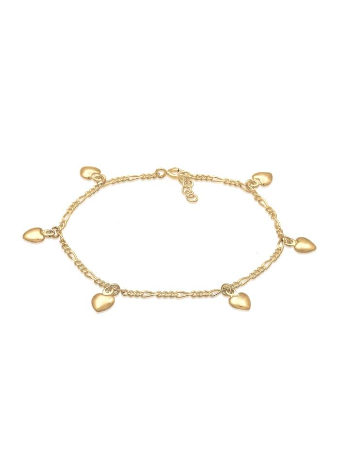 Elli Armband Bettelarmband Figaro Herz Anhänger 925Er Silber, Gold