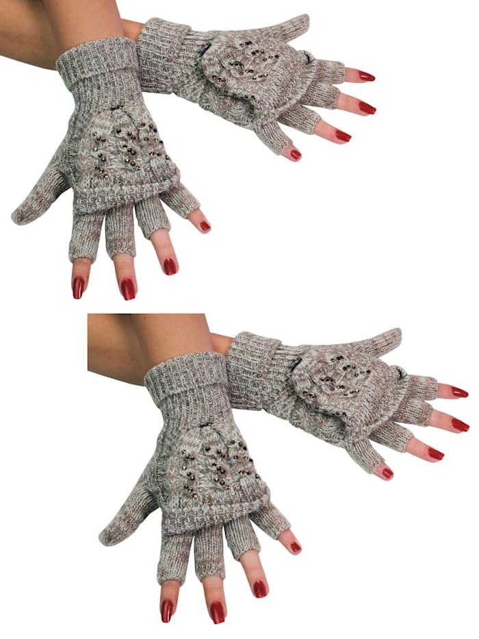 Simone Erto Handschuhe 2 Paar A3372 2 Paar Klapp-Handschuhe mit Glitzer-Steinen, beige/creme