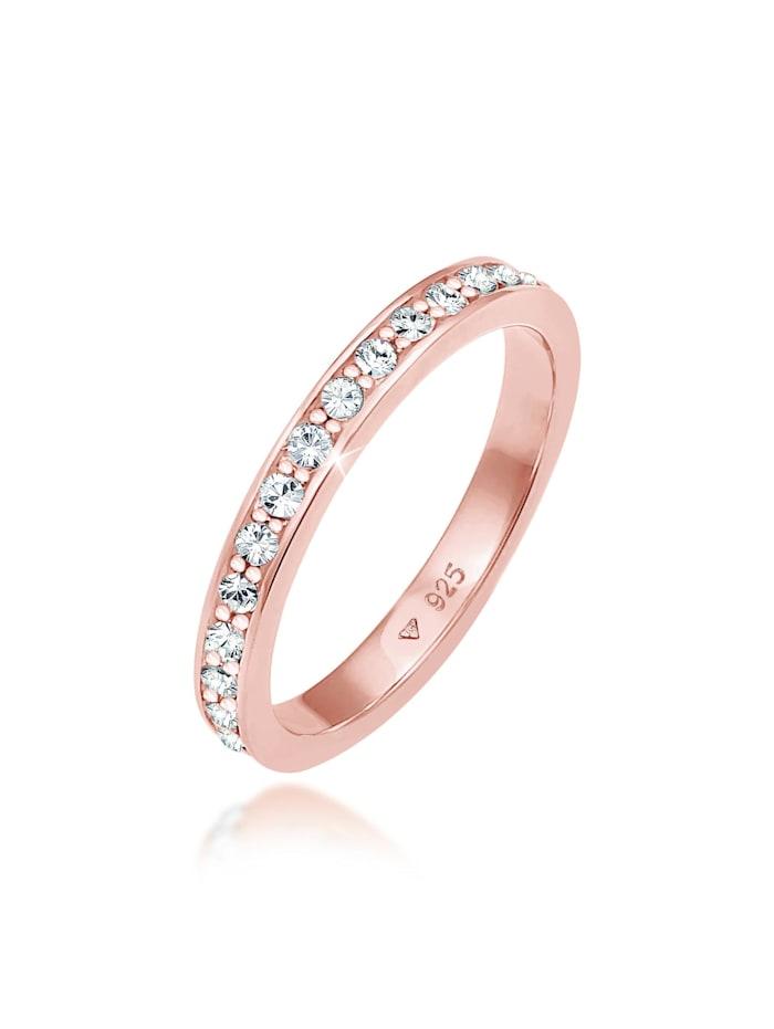 Elli Ring Glamourös Kristalle 925 Sterling Silber, Rosa