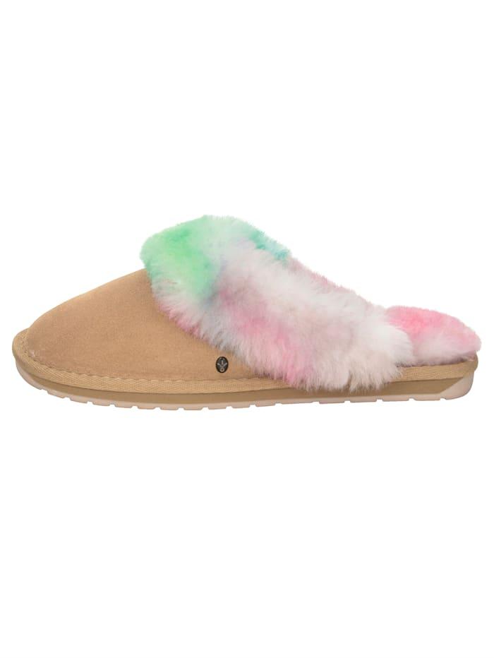 EMU-Pantolette mit Lammfellkragen im pastelligen Farbverlauf