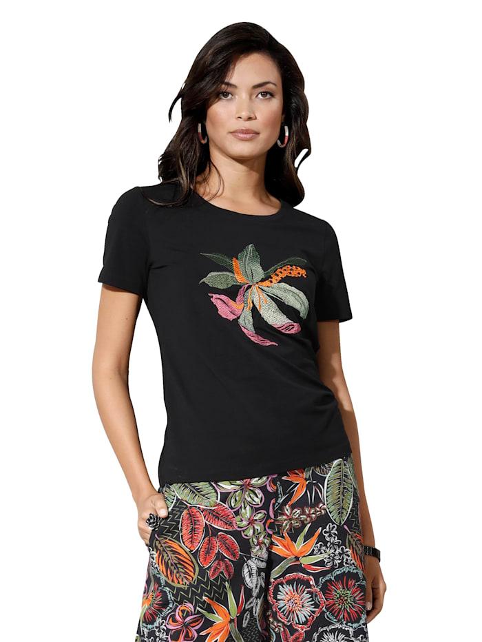 AMY VERMONT Shirt mit Blumen-Stickerei, Schwarz