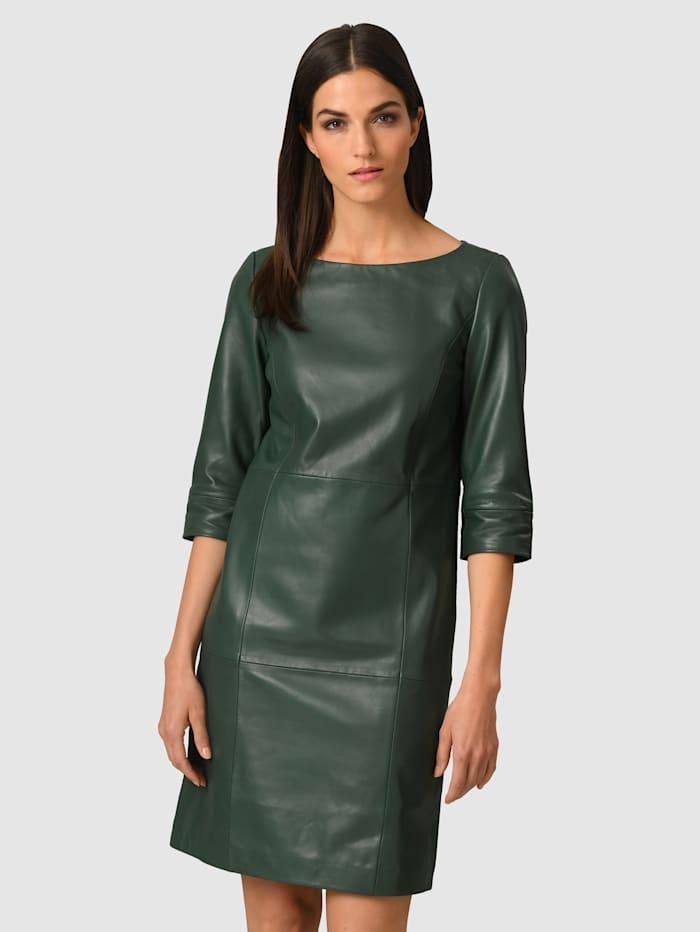Alba Moda Kleid aus softem Lammnappa, Dunkelgrün