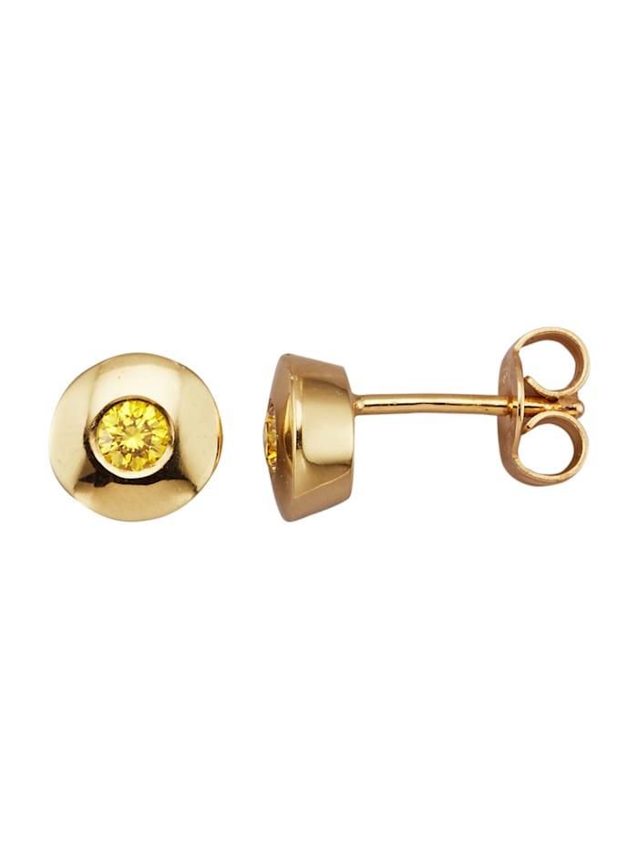 Amara Diamants Boucles d'oreilles avec brillants, Jaune