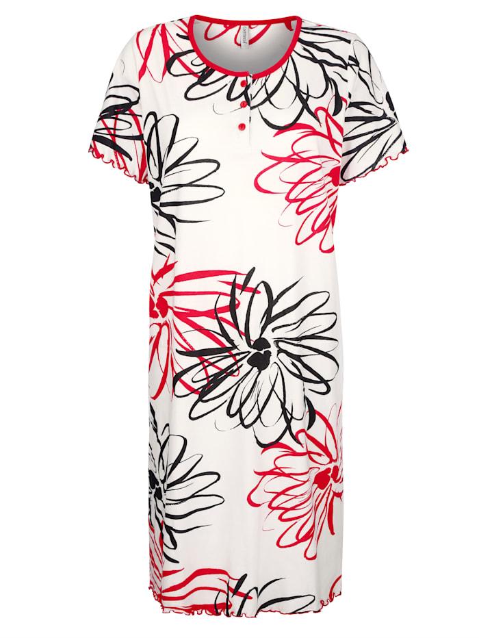 Comtessa Nachthemd uit de 'Cotton made in Africa'-collectie, Wit/Rood/Zwart