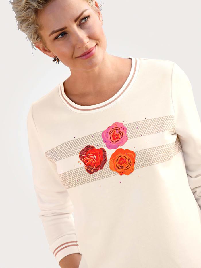 MONA Sweatshirt mit platziertem Blüten-Motiv, Ecru/Orange/Pink