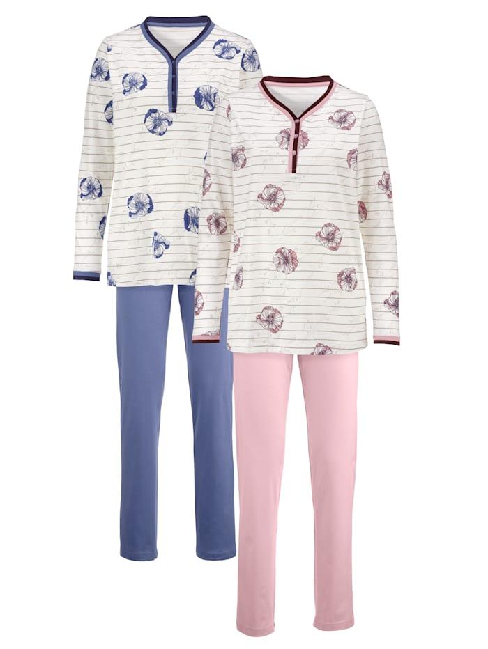Harmony Schlafanzug mit zweifarbiger Kontrastpaspelierung, Hellrosa/Rauchblau