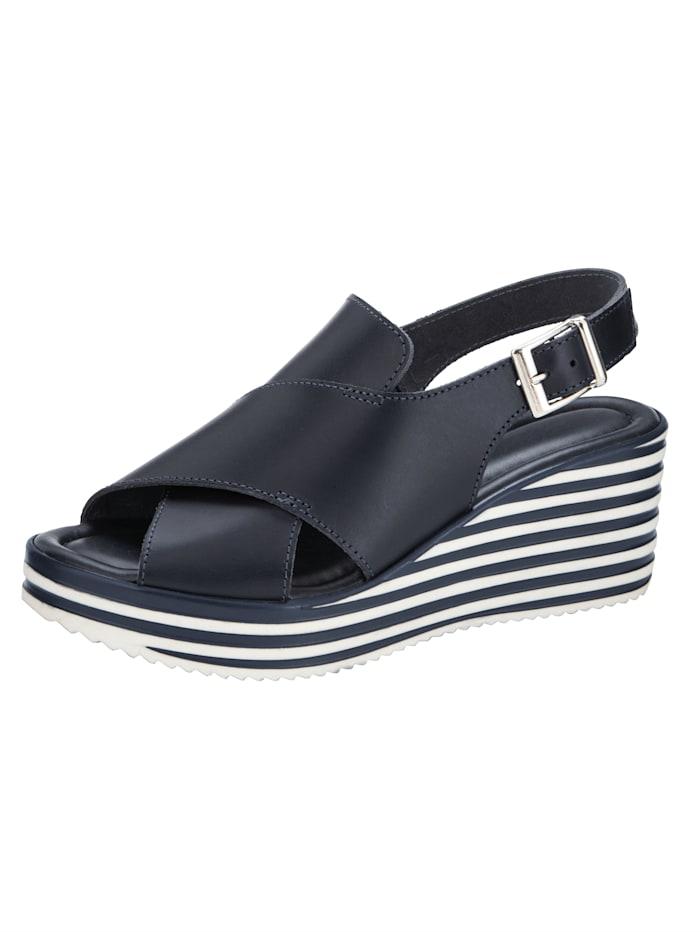 Sandales compensées d'aspect rayé, Marine