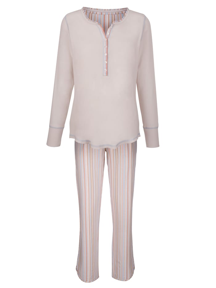 Simone Schlafanzug mit dekorativen Kontrastnähten, nude/apricot/bleu