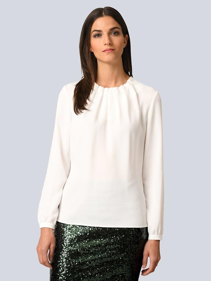 Alba Moda Bluse mit Falten am Ausschnitt, Off-white
