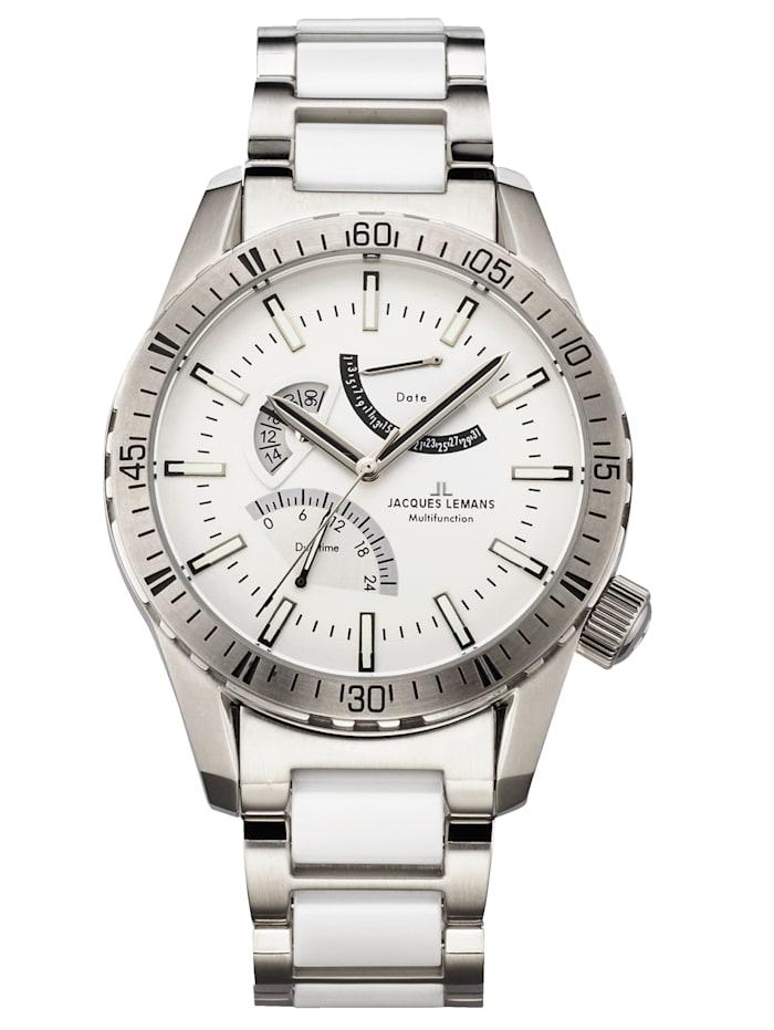 Jacques Lemans Herrenuhr Serie Liverpool GMT 1-1584 M, Silberfarben/Weiß