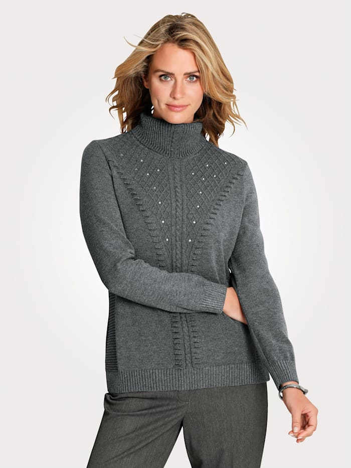 MONA Polo neck jumper with decorative rhinestones, Grey