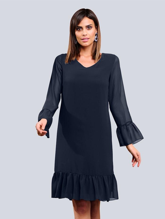 Alba Moda Kleid mit effektvoller Volantverarbeitung, Marineblau