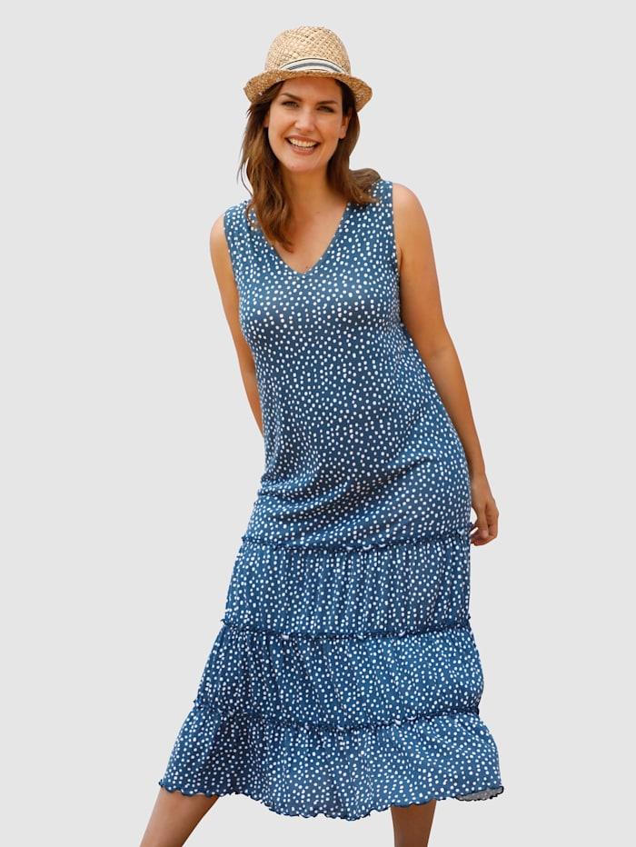 Maritim Klänning med småprickigt mönster, Marinblå