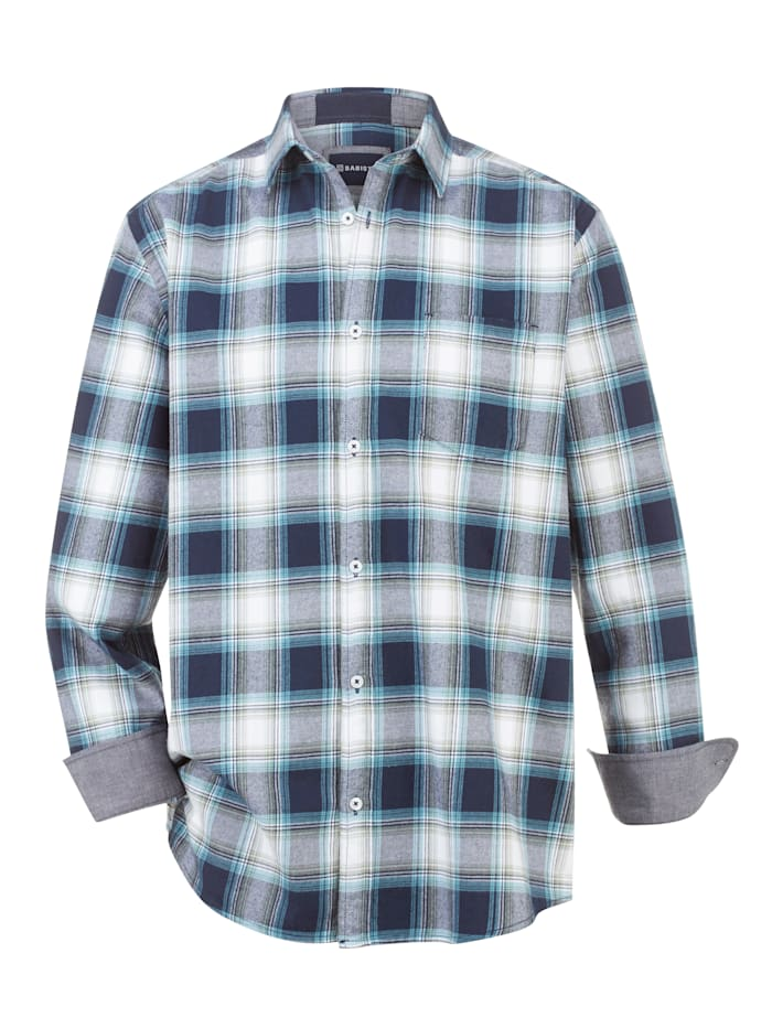 BABISTA Flanellhemd aus reiner Baumwolle, Marineblau/Petrol